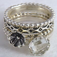 Solid 925 Silver/White Topaz Strl1012 5-Stack Set Us 8.75 SilverSari Poppy/Gems