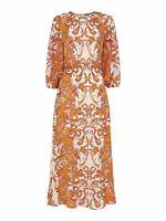 WHISTLES Ladies Yellow Silk Baroque Print 3/4 Sleeve Midi Dress UK10 BNWT RRP329