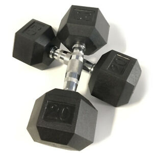 BRAND NEW 25LB PAIR OF RUBBER COATED HEX DUMBBELLS WEIGHTS FOR COMMERCIAL GYM