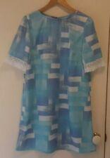 NEW Blue Tiles Shift dress with fringe sleeve, size 12-14
