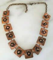 Art Deco Geometric Chunky Copper Modern Design Link Necklace Mid-Century