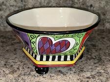 Studio Designworks Hand Painted Ceramic Footed Serving Bowl Bright Heartsl
