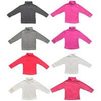 Baby Kids Plain Long Sleeve Top Boys Girls T-Shirt Thick Cotton Polo Neck Warm