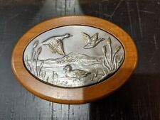 ACCA Wood Mallards Flying Jewelry Trinket Box 925 Sterling Silver Plaque