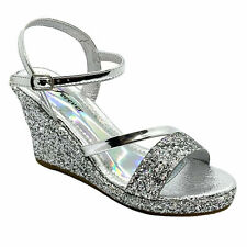 Forever Mikki-13 Women's Silver Pageant Dress Evening & Party Shoes size 7.5