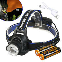 750000Lumen T6 LED Zoomable Headlamp USB Rechargeable 18650 Headlight Head Light