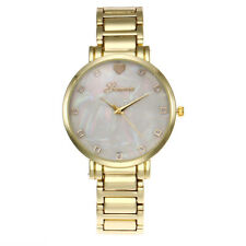 Ladies Geneva Large Mother of Pearl Face Yellow Gold Bracelet Watch
