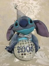 """Disney Store Stitch '06 New Years Plush Beanie Approx. 7"""" new with tag Mint"""
