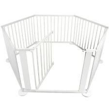 Baby Kids Toddler Deluxe White Wooden Playpen Divider Safety Gate 6 Panel