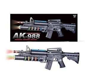 Toy Gun Assault Rifle Battery Flashing Lights Sound Vibration AK988 Gift Play