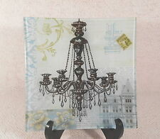 """10 1/2"""" Square Green & Black Glass Serving Tray w/ Backing Picture of Chandelier"""