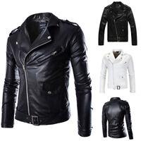Mens Punk PU Leather Coat Slim Fit Biker Motorcycle Jacket Bomber Zipper Outwear