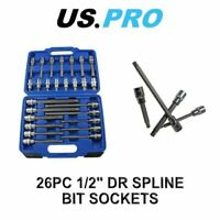"US PRO Tools 26pc 1/2"" Dr Spline Bit Socket Set 3405"