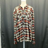 Lucky Brand Womens Lace Back Button Down Blouse Size Large Plaid Shirt Top