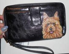 Australian Terrier dog Hand Painted Leather Wallet for Women Vegan Wristlet