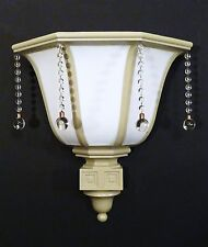 XL ART DECO VINTAGE MILK GLASS THEATER SCONCE GLASS DROPS RESTORED 1930s