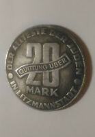 1943 JUDE JEWISH GETTO COIN 20 Mark QUITTUNG UBER LITZMANNSTADT Poland Varsovie