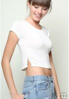 brandy melville light pink crop crewneck Rebecca top with side slits XS/S
