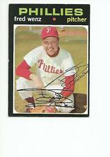 FRED WENZ Autographed Signed 1971 Topps card Philadelphia Phillies COA