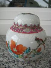 Pot à Thé Porcelaine CHINE Décor OISEAU  FLEURS 10,5 cm haut