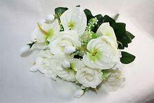 Long Stemmed Artificial Silk White Rose and Antheruim Bush Floral Bouquet