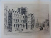 "Charles Murray Antique Etching  Print ""Front from the High St."" Oxford? signed."