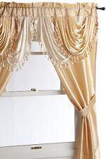 "Window 5 Piece Curtain Set 2 Panels Valance Tieback 54"" x 84"" Panel Sheer Drapes"