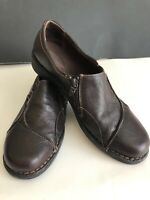 Womens Clarks Comfort Shoe Brown Leather Slip On Size 11