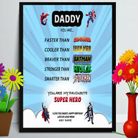 Birthday gift for Step Dad Daddy Dad Personalised Super Hero A4 print