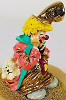 """Ron Lee Clown Sitting Down Slipping Hat Hand Signed 24k Gold 4"""" Tall 1990"""