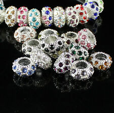 20Pcs Czech Crystal European Big Hole Spacer Charm Beads For European Bracelet
