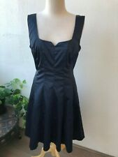 Review Navy Blue Sleeveless Fit n Flare Silky Dress Size 14