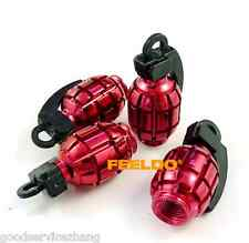 Red Grenade Style Wheel Tyre Tire Metal Valve Stems Caps Dust Covers For Pontiac