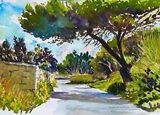 Stordimento doranne Alden ORIGINALE COUNTRY ROAD Mdina Malta dipinto ad acquerello