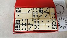 Vintage Set of 55 Double Nine Dominoes by Cardinal in Red Vinyl Case w/ Insert