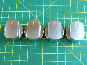 4 x 32mm Diameter Silver Aluminium Finish Knobs for Stoves Ovens & Hobs