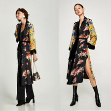 Women Vintage Floral Loose Shawl Long Kimono Cardigan Boho Tops Jacket Blouse US
