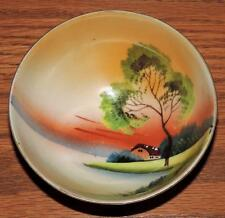 NORITAKE FOOTED PORCELAIN LUSTER BOWL RIVER/BARN PRE-1920 by MORIMURA BROTHERS