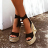 Womens Strappy Platform Retro Roman Sandals Lace Up Party Wedge High Heels Shoes