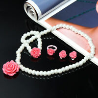 1 Set New Hot Children's Jewelry Cute Girl Flowers ring Bead Necklace Bracelet