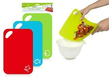 3PK Flexible Coloured Plastic Chopping Mats BPA FREE Curl Bends Easily