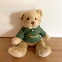 Harrods Knightsbridge London Stuffed Teddy Bear Green Polo Shirt Gold Signature