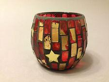 Teelichthalter Teelicht Windlicht Glas Mosaik 10x9cm Rot  Gold Stern Weihnachten