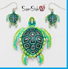 """+ 23"""" Long Chain Green Ocean Sea Turtle Pendant Necklace Earrings Shell"""
