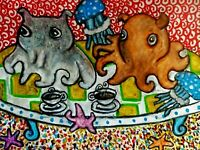 DUMBO OCTOPUS Drinking Coffee 13x19 PRINT Sea Jelly Starfish Art by Artist KSams