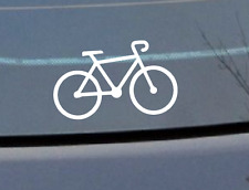 Bicycle Push Bike Cycling Car Stickers Cast Vinyl 100mm Decal White X 2