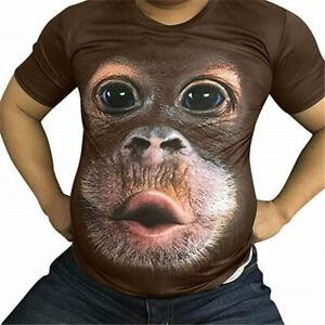 Men's Funny 3D Gorilla Monkey Printed T-shirt Casual Short Sleeve Top