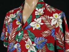 Vintage New Horizon Hawaiian Aloha Shirt Mens XL Cattleya Orchid Monstera Leaves