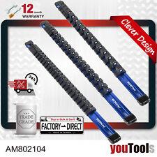Socket Organizer 54 Clips 1/4 3/8 1/2 3 Aluminum Rails BLUE Anodized Lightweight
