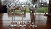 Etched Clear Glass Wine Stems Glasses Elegant Floral Design 6 6 oz elegant stems